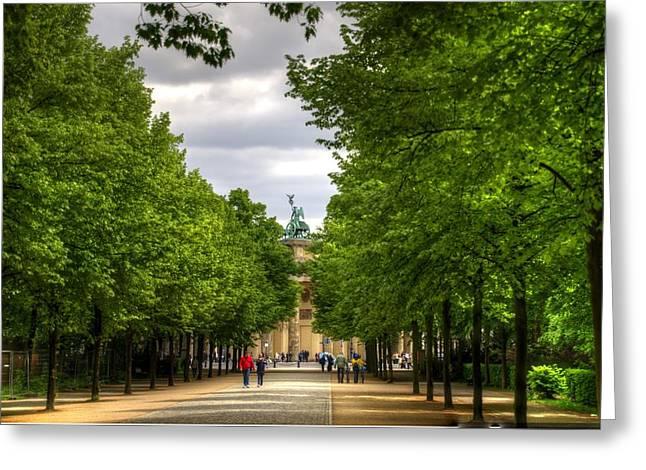 Berlin Germany Greeting Cards - Brandenberg Gate from Tiergarten Park Greeting Card by Jon Berghoff