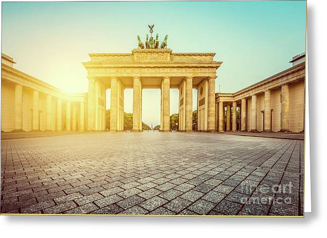 Brandenburg Gate Sunrise Greeting Card by JR Photography