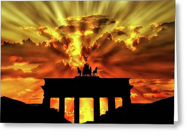 Brandenburg Gate Sunset Greeting Card by Brigitte Werner