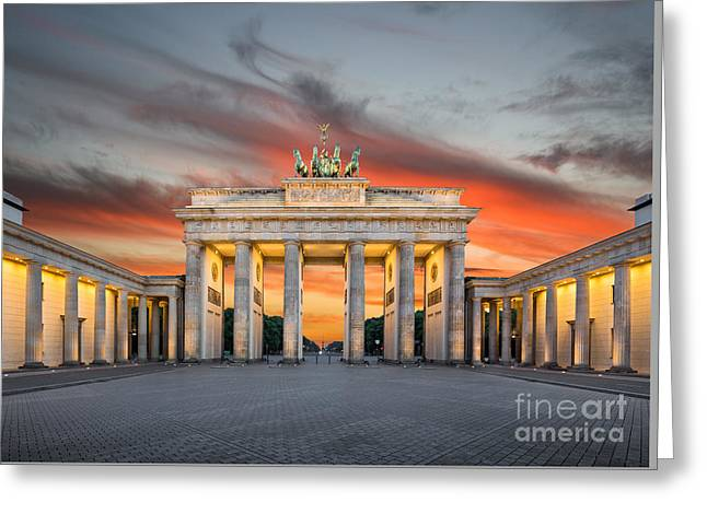 Brandenburg Gate Sunset Greeting Card by JR Photography