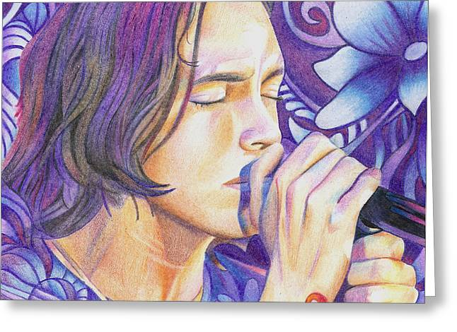 Lead Singer Greeting Cards - Brandon Boyd Greeting Card by Joshua Morton