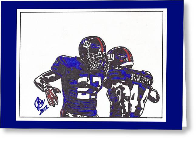Greeting Card featuring the drawing Brandon Jacobs And Ahmad Bradshaw by Jeremiah Colley