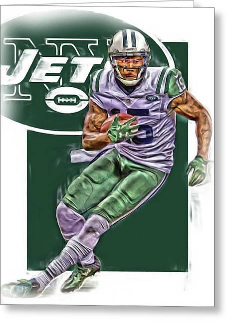 Brandon Marshall New York Jets Oil Art Greeting Card by Joe Hamilton
