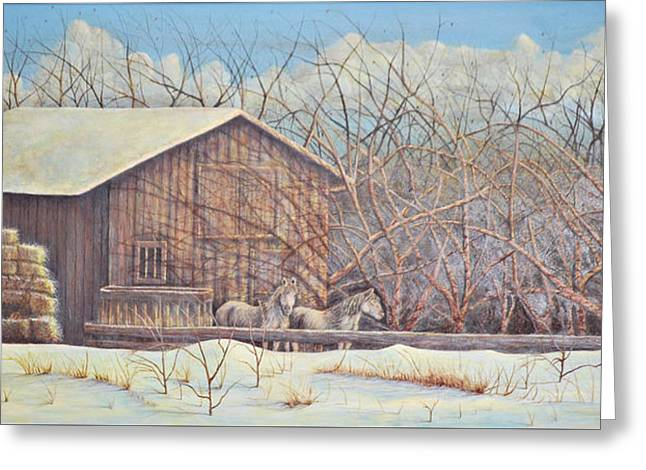 Greeting Card featuring the painting Brandon's Horses by Dusty Bahnson
