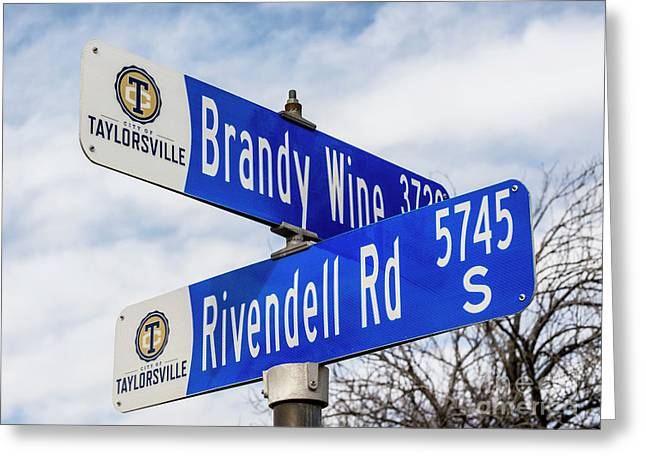 Brandywine And Rivendell Street Signs Greeting Card by Gary Whitton