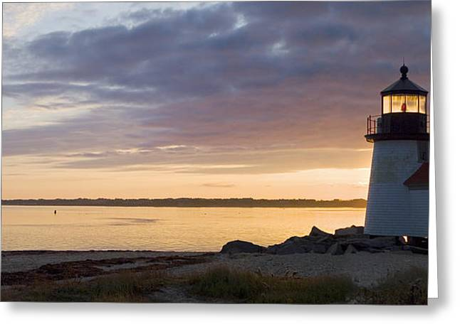 Lighthouse Greeting Cards - Brant Point Dawn - Nantucket Greeting Card by Henry Krauzyk