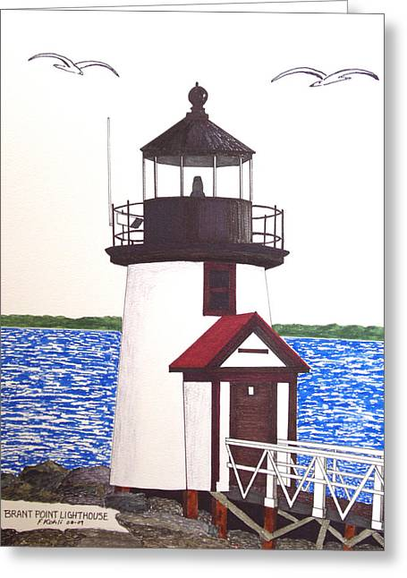 Brant Point Lighthouse At Nantucket Harbor Greeting Card by Frederic Kohli