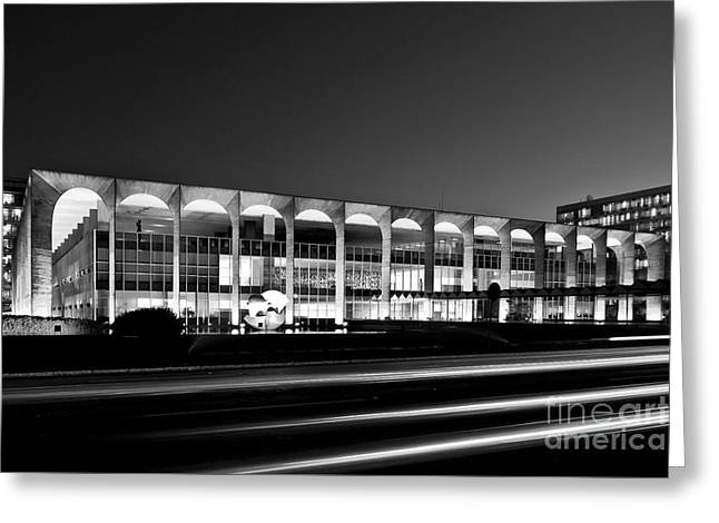 Brasilia - Itamaraty Palace - Black And White Greeting Card