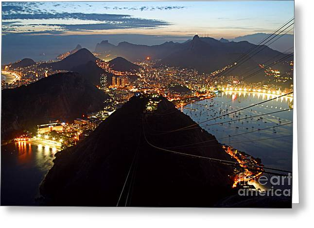 Greeting Card featuring the photograph Brasil,rio De Janeiro,pao De Acucar,viewpoint,panoramic View,copacabana At Night by Juergen Held