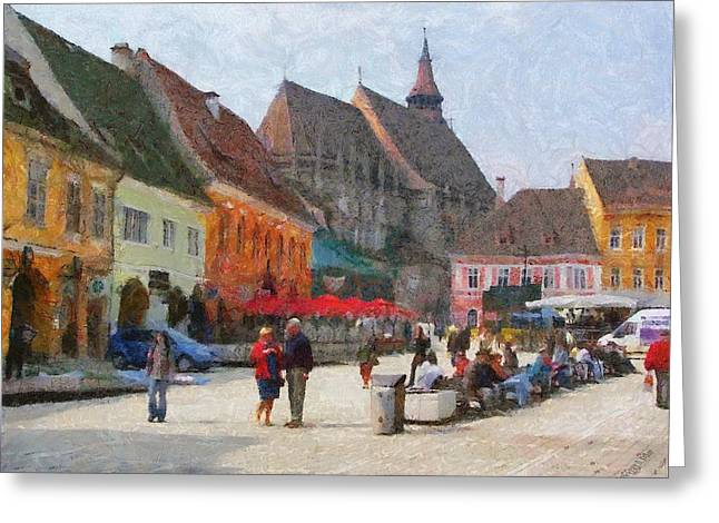 Brasov Council Square Greeting Card by Jeff Kolker