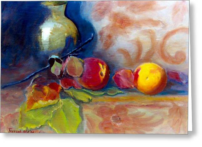 Brass And Peaches Greeting Card by Jeanene Stein