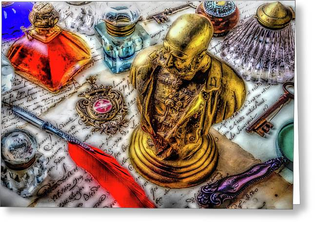 Brass Bust And Ink Wells Greeting Card by Garry Gay