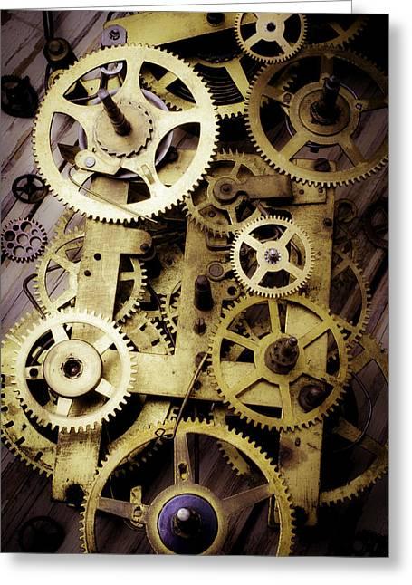 Brass Clock Gears Greeting Card