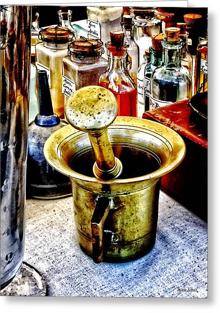 Brass Mortar And Pestle With Handles Greeting Card by Susan Savad
