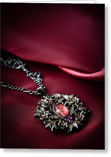 Brass Pendant With Red Gem Greeting Card by Jaroslaw Blaminsky