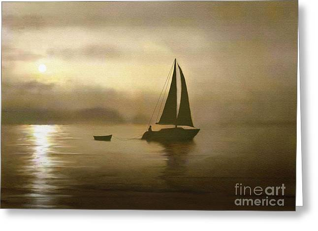 Sailing Boat Mixed Media Greeting Cards - Brass Sail Greeting Card by Robert Foster