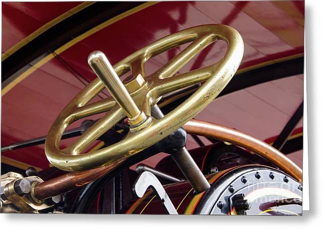 Brass Steering Wheel Greeting Card by Steev Stamford
