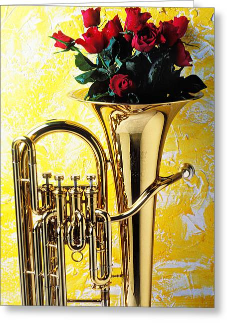 Roses Greeting Cards - Brass tuba with red roses Greeting Card by Garry Gay