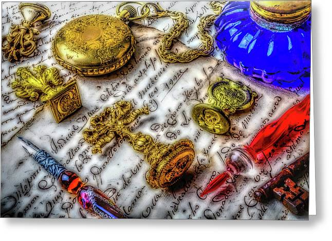 Brass Wax Seals Greeting Card by Garry Gay