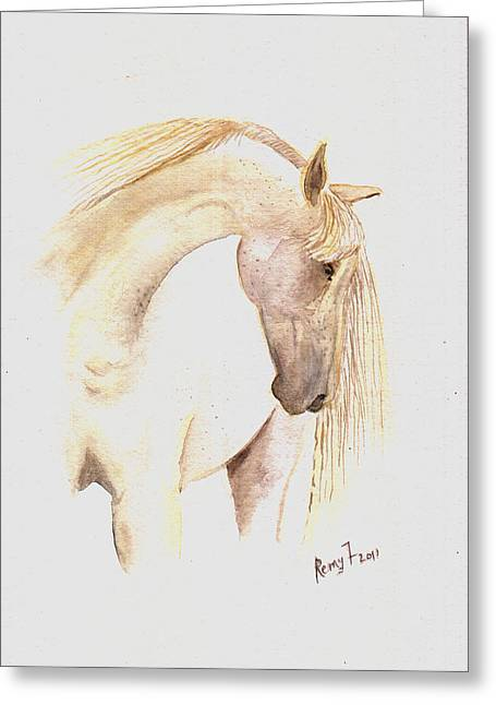 White Horse From The Wild Greeting Card by Remy Francis
