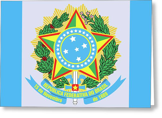 Greeting Card featuring the drawing Brazil Coat Of Arms by Movie Poster Prints