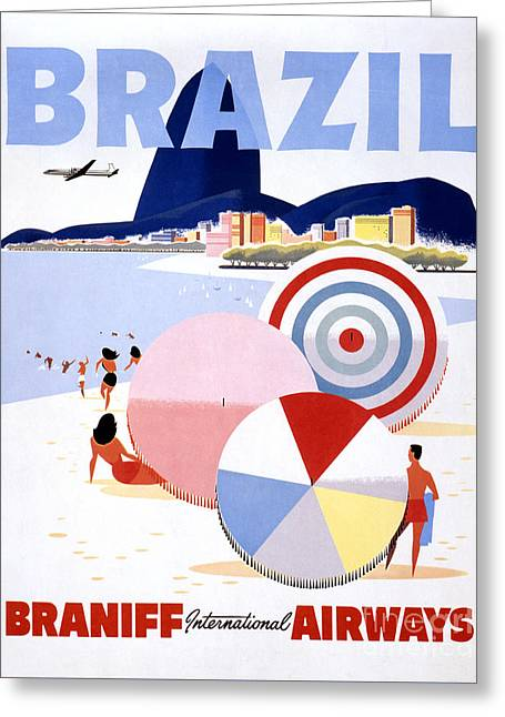 Brazil Vintage Travel Poster Restored Greeting Card