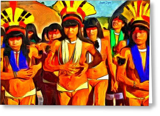 Brazilian Indian Girls - Da Greeting Card