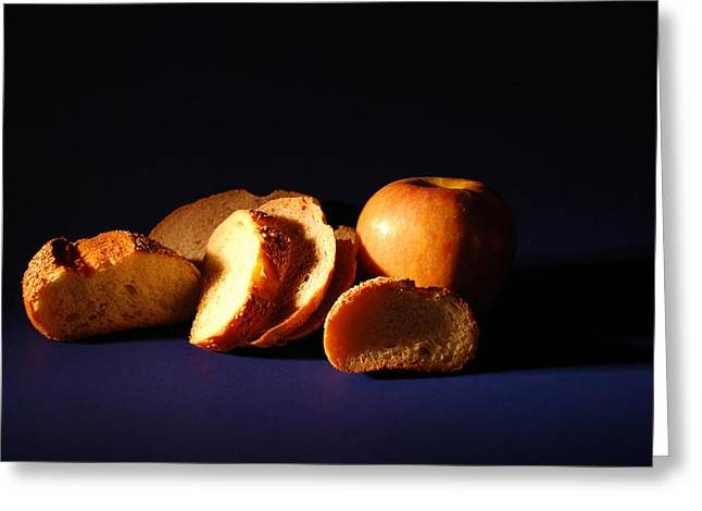 Bread And Apple Greeting Card by William Thomas