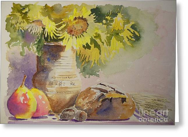 Bread And Sunflower Greeting Card by The Artist Brush