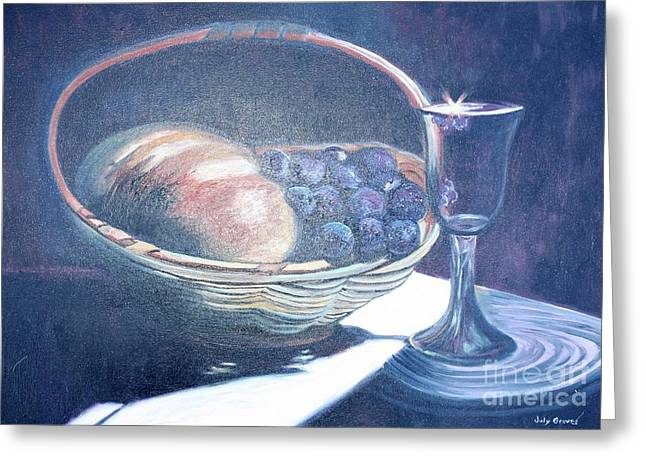 Bread And Wine Greeting Card by Judy Groves