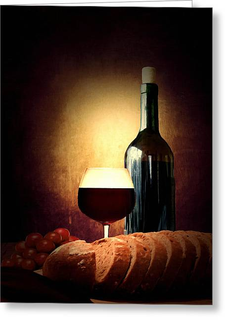 Restaurant Decor Greeting Cards - Bread and wine Greeting Card by Lourry Legarde