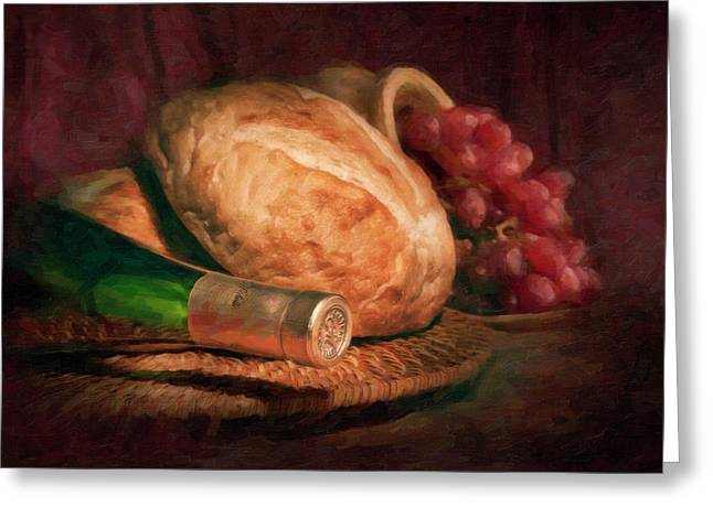 Bread And Wine Greeting Card by Tom Mc Nemar