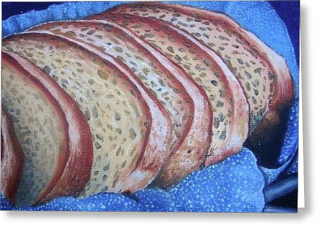 Greeting Card featuring the painting Bread Basket by Mary Ellen Frazee