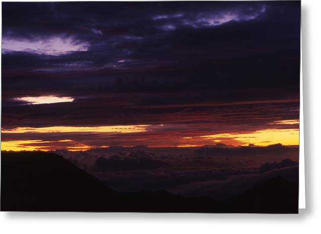 Break Of Dawn From Haleakala Maui Greeting Card by Harvie Brown