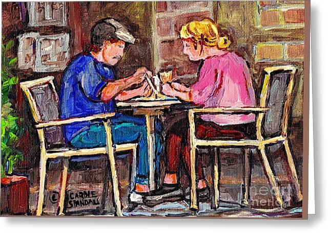Breakfast At The Bistro Paris Style Cafe Original Quebec Art Carole Spandau Greeting Card by Carole Spandau