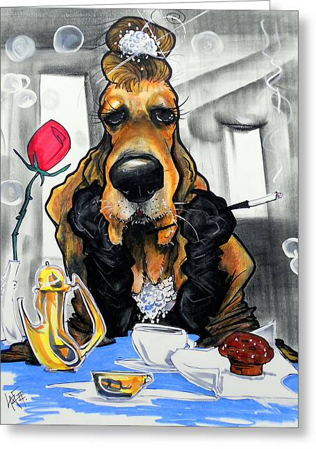 Breakfast At Tiffany's Basset Hound Caricature Art Print Greeting Card