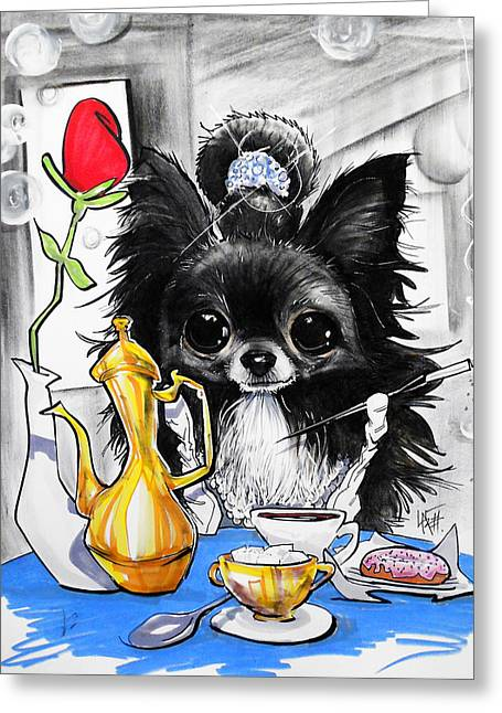 Breakfast At Tiffany's Papillon Caricature Art Print Greeting Card