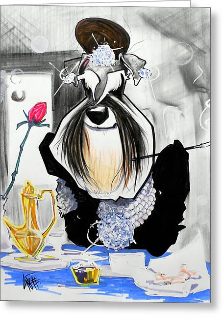 Breakfast At Tiffany's Schnauzer Caricature Greeting Card