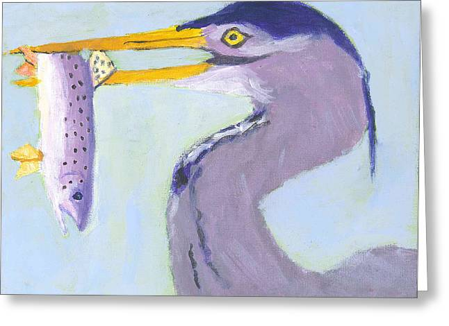 Breakfast Catch Greeting Card by David Crowell