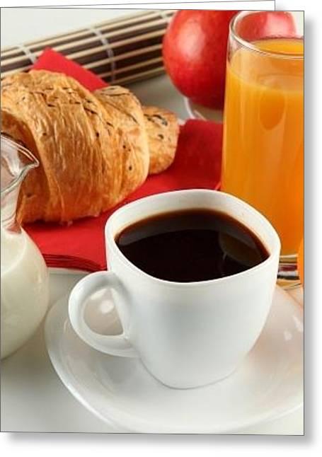 Breakfast Coffee Milk Orange Juice Croissant Apple Cup White Saucer Jug 75192 300x450 Greeting Card