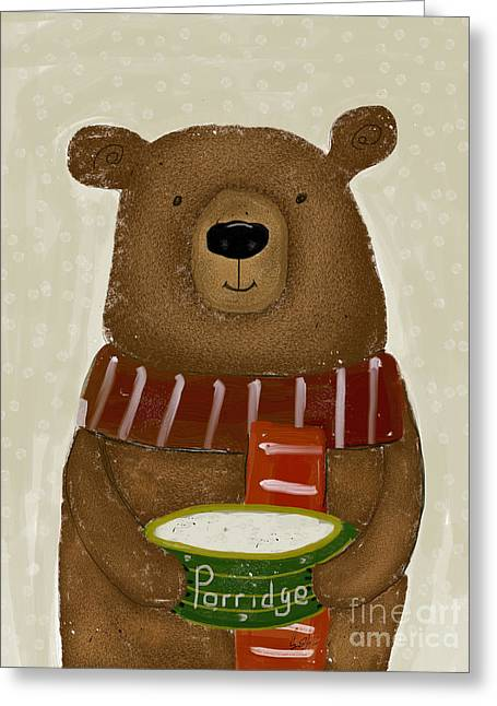 Greeting Card featuring the painting Breakfast For Bears by Bri B
