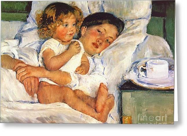 Breakfast In Bed 1897 Greeting Card