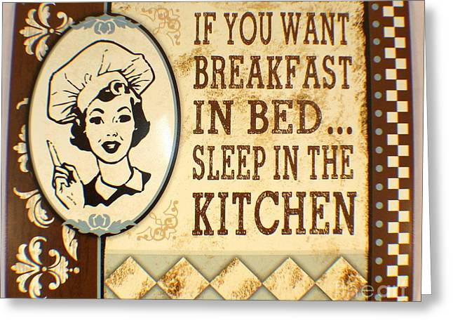 Breakfast In Bed Greeting Card by Pg Reproductions