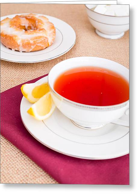 Breakfast With Pastries, And Hot Tea With Lemon #2 Greeting Card