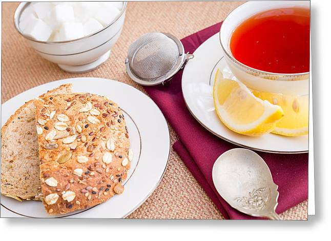 Breakfast With Pastries, And Hot Tea With Lemon #3 Greeting Card