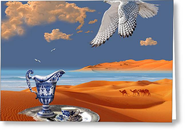 Greeting Card featuring the digital art Breakfast With White Falcon by Alexa Szlavics