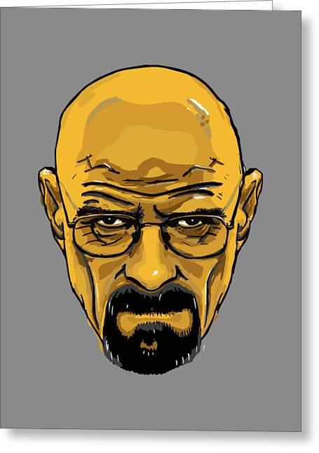 Breaking Bad - Amc  Heisenberg  Walter White  Portrait  Yellow Greeting Card by Paul Telling
