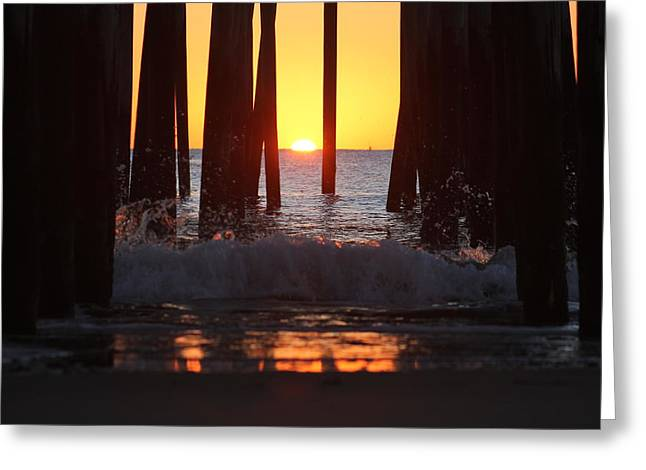 Breaking Dawn At The Pier Greeting Card