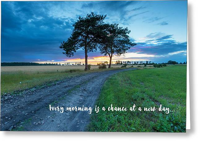 Breaking Dawn Country Road New Day Greeting Card