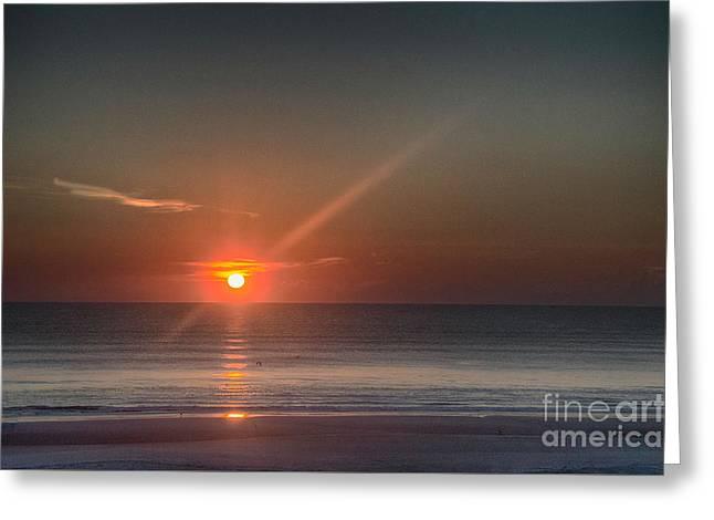 Breaking Dawn Daytona Beach Greeting Card by Judy Hall-Folde